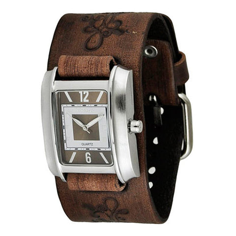 Vintage BrownWhite Square in Square Ladies Watch with Faded Brown Embossed Flower Design Leather Cuff Band BVFB013B