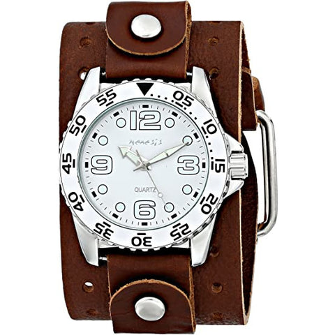 BJB097W Nemesis Nemesis Groovy Watch with 2 inches Wide Brown cuff band