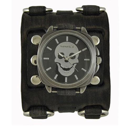 Black Skull Head Watch with Faded Black Wide Detail Ring Leather Cuff Band FWB935K