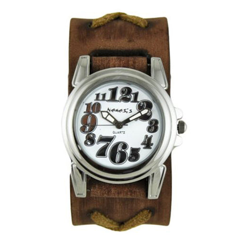 White Trendy Watch with Faded Brown X Leather Cuff Band BFXB069W