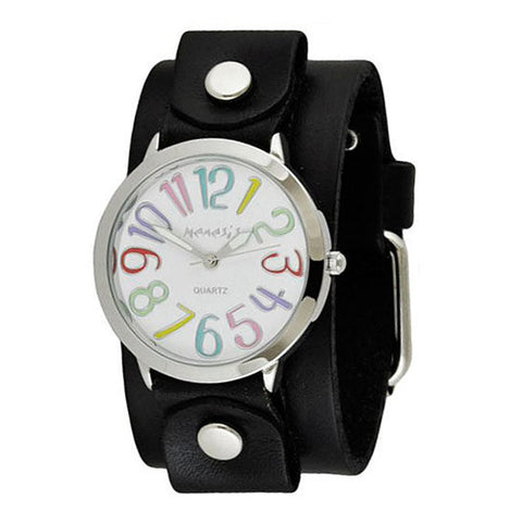 White Multi-Colored Numbers Always Summer Ladies Watch with Junior Size Black Leather Cuff Band GB108M