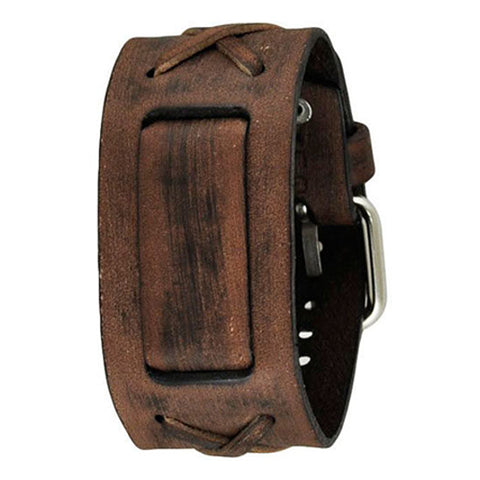 Faded Brown X Leather Cuff Watch Band 20mm BFXB