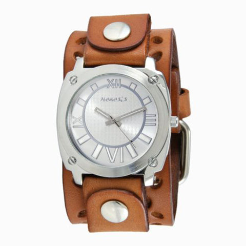 Silver Roman Numerals with Brown Perforated Leather Cuff Watch 066BWPB-S