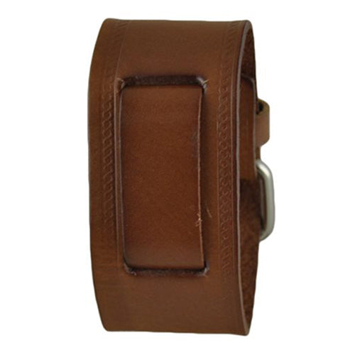 Medium Brown Embossed Strip Leather Watch Cuff Band BHST