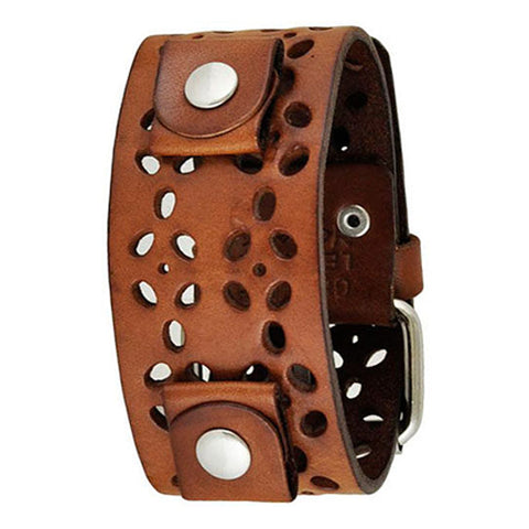 Brown Styled Perforated Leather Cuff Watch Band 20mm WPBB