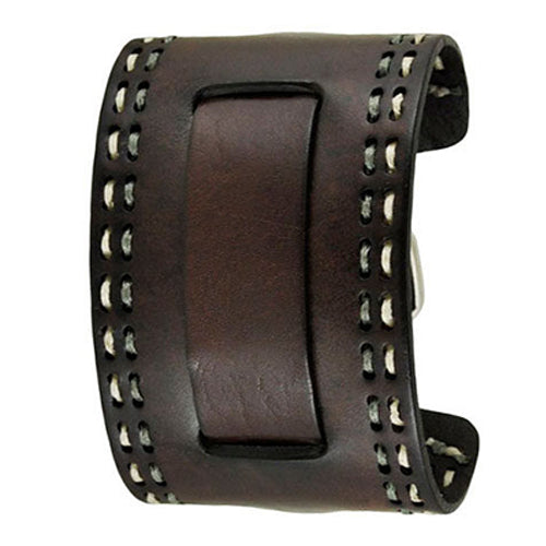 Dark Brown Double Stitched Wide 2 Pc. Leather Cuff Watch Band 24mm GBHD