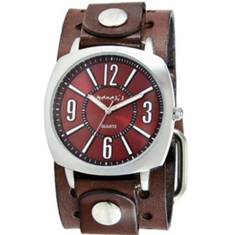 Burgundy Comely Watch with Basic Dark Brown Leather Cuff Band 110DBN