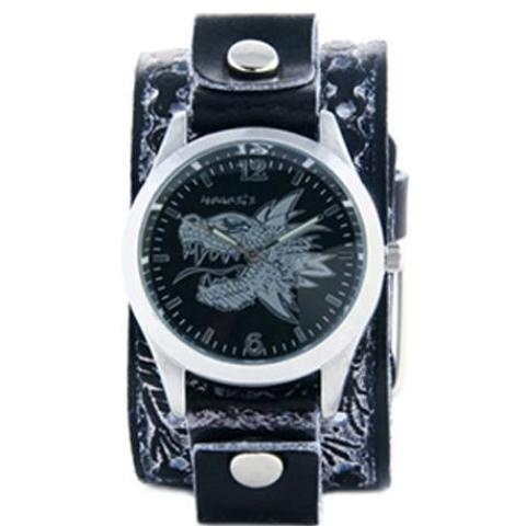 BlackSilver Dragon Head Watch with BlackWhite Dragon Print Leather Cuff Band SSN903K