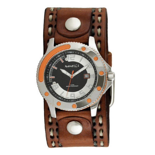 Orange Black Sporty Watch with Brown Double Stitched Leather Cuff Band BDSTH105N