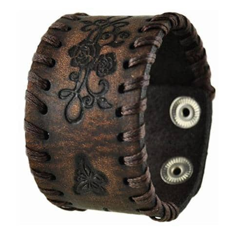 Dark Brown Side Weaved Flower Rose Embossed Leather Cuff Bracelet 517B