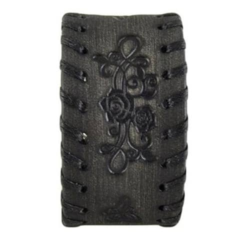 Faded Black Side Weaved Flower Rose Embossed Leather Cuff Bracelet 517K