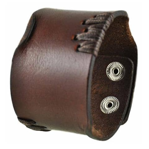 Brown Side Stitch Leather Bracelet Cuff Band 507B