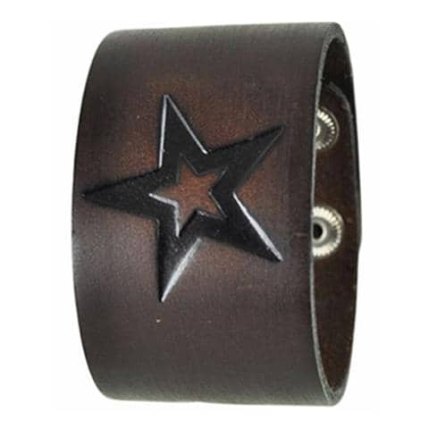 Brown Triple Star Embossed Leather Cuff Snap On Bracelet 515B