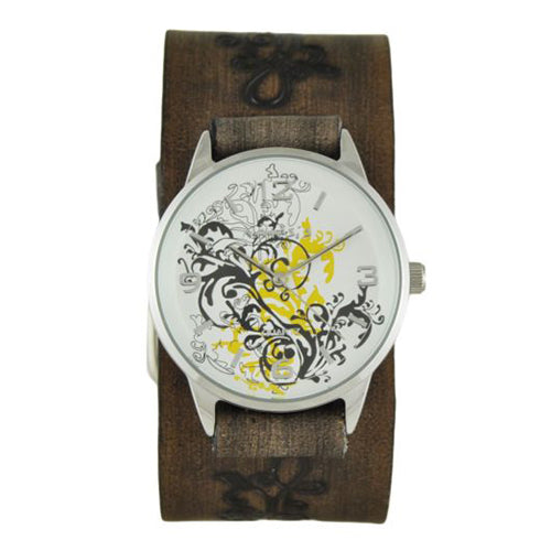 Yellow Plant Art Watch with Faded Dark Brown Embossed Flower Design Leather Cuff Band DBVFB827Y