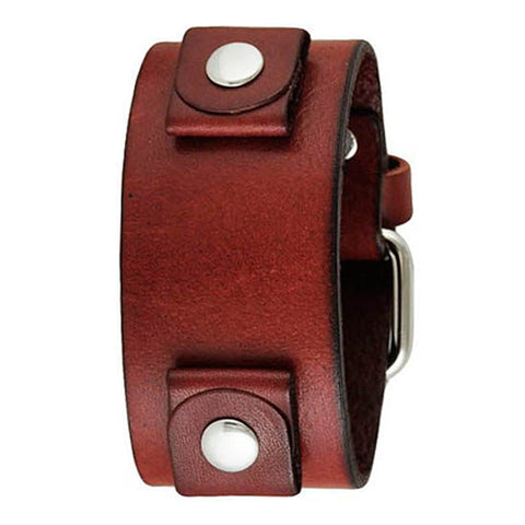 Basic Junior Size Red Leather Cuff Watch Band 20mm RGB