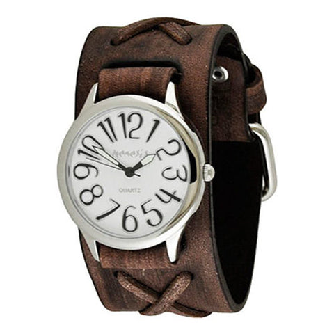 White Black Always Summer Ladies Watch with Junior Faded Dark Brown X Leather Cuff Band DSFX108W