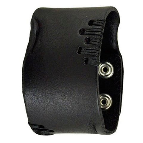 Black Side Stitch Leather Bracelet Cuff Band 507K