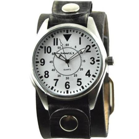 White Unique Watch with Classy Faded Black Leather Cuff Band 095W-FBNK