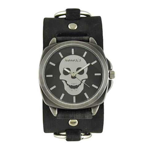 Black Skull Head Watch with Faded Black Leather Ring Cuff Band DFRB935K