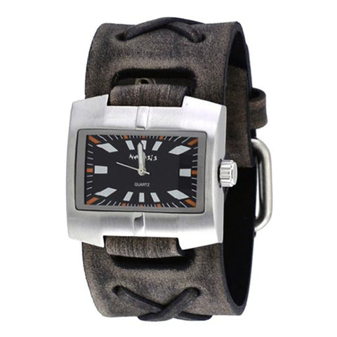 Black Racing Sport Unisex Watch with Faded Black X Leather Cuff Band 060FXB-K