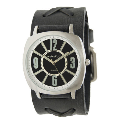 Nemesis Black Comely Watch with Faded Black X Leather Cuff Band, KFXB110K-front