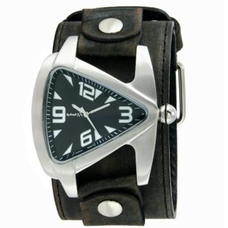Black Oversized Teardrop Watch with Faded Black XL Stitch Leather Cuff Band 011FLBB-K