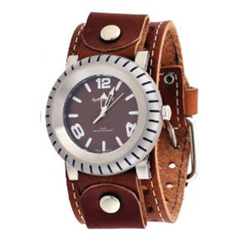 Brown Wheelmen Watch with Brown XL Stitch Leather Cuff Band BSTH079B