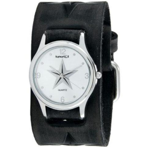 Silver Vintage Punk Rock Star Watch with Faded Black Embossed Leather Cuff Band 355FST-S