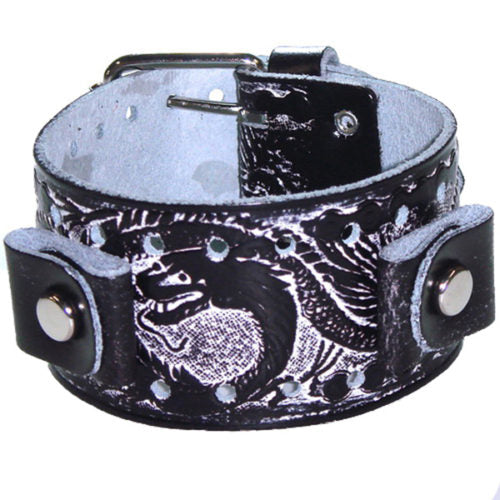 BlackWhite Dragon Print Leather Cuff Band SSN