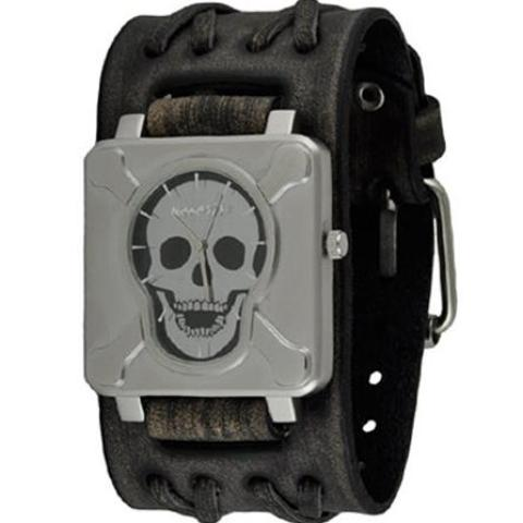 VDXB930K-2-350x500SilverBlack Cross Bones Skull Watch with Wide Faded Black Double X Leather Cuff Band VDXB930K