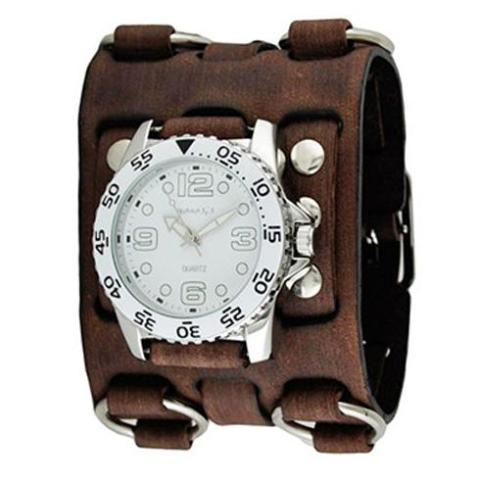 White Groovy Watch with Faded Brown Wide Detail Leather Cuff Band BFWB097W