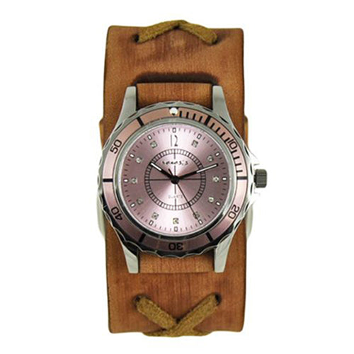 Pink Bella Ladies Watch with Faded X Brown Leather Cuff Band BFXB092P