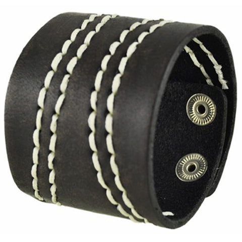 Wide Dark Brown with White Curve Stitch Leather Cuff Bracelet 513B