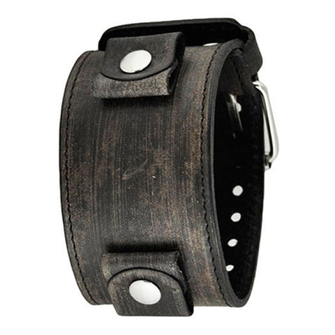 Faded All Black XL Stitch Leather Cuff Watch Band 24mm FLBB
