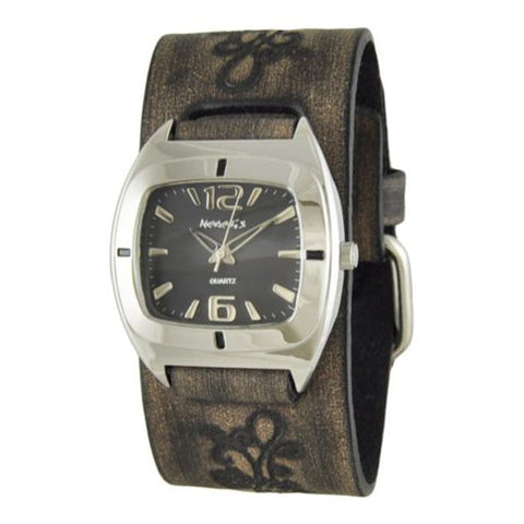 Black Retro Watch with Faded Dark Brown Embossed Flower Design Leather Cuff Band DBVFB090K