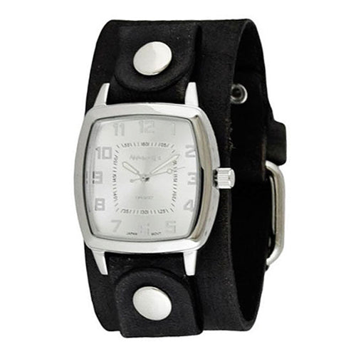 Silver Classic Vintage Ladies Watch with Junior Size Faded Black Leather Cuff Band FGB017S