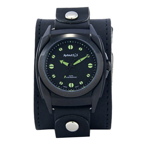 Black/Green Eternity Men's Watch with Black XL Stitch Leather Cuff Band LBB081G