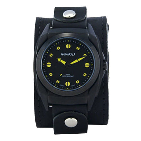 Black/Yellow Eternity Men's Watch with Black XL Stitch Leather Cuff Band LBB081Y