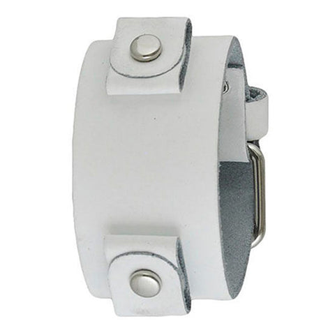 Basic Junior Size White Leather Cuff Watch Band 20mm WGB
