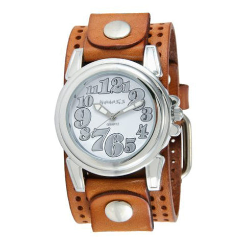 White Trendy Watch with Brown Perforated Leather Cuff Band BPLB069S