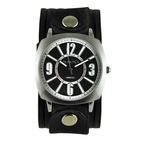 Black Comely Watch with Black Vintage Embossed Stripes Leather Cuff Band VEB110K