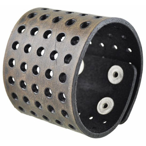 Brushed Dark Brown Wide Perforated Leather Bracelet Cuff Band 505B