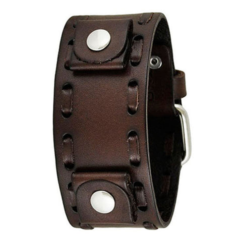 Dark Brown Weaved Leather Cuff Watch Band 22mm BWTK