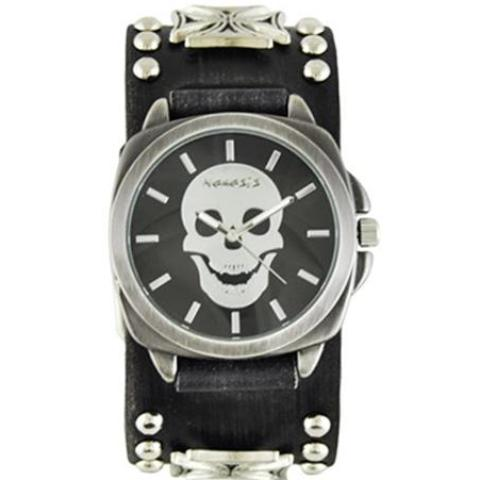 Black Skull Head Watch with Faded Black Iron Cross Studded Leather Cuff Band FMIC935K