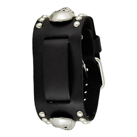 Black Metal Skull Studded Leather Cuff Watch Band 20mm MSK