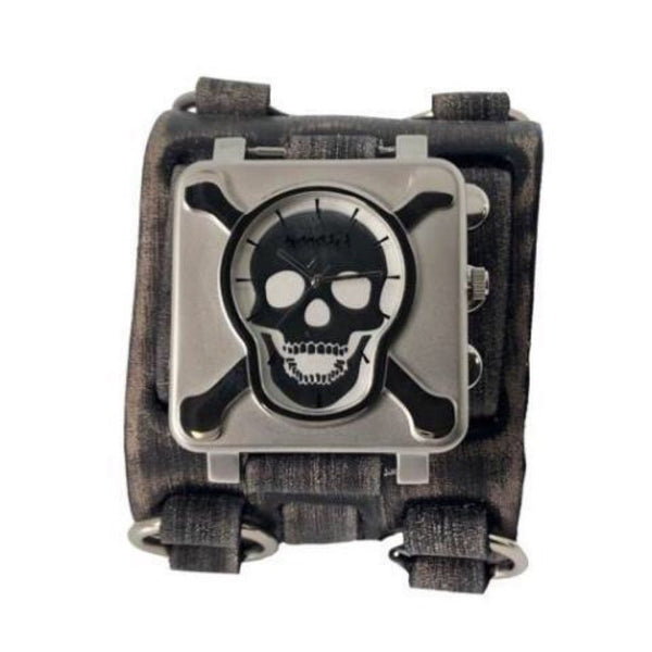 Nemesis Silver/Black Cross Bones Skull Watch with Wide Faded detail; Black  Leather Cuff Band VWB930S