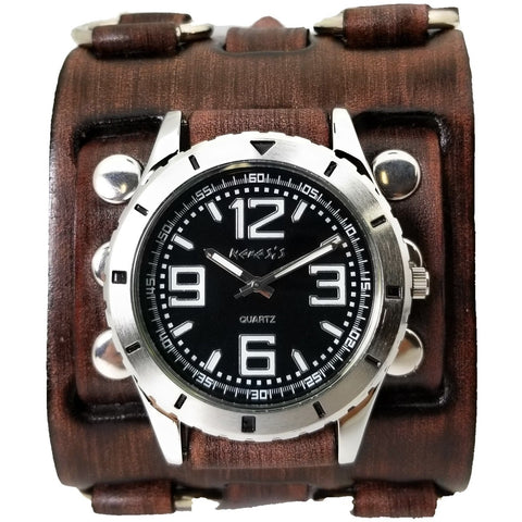 BFWB097k Nemesis sport watch with wide detail vintage leather cuff band