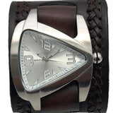 BNWA011S Nemesis stainless steel triangle watch with Brown weaved leather cuff band