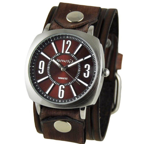 Burgundy Comely Watch with Brown Vintage Embossed Striped Leather Cuff Band BVEB110BU