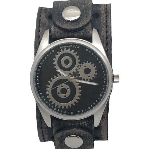 VBS112K Nemesis fear watch with Vintage Black Bracleather cuff band